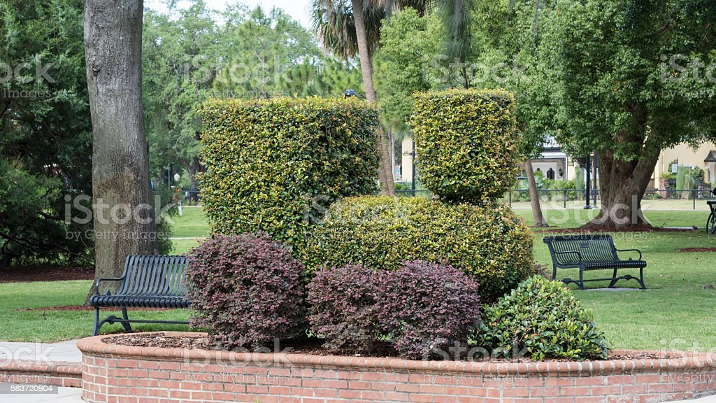 Steam Engine Shaped Bush, Winter Park, Orlando, Florida stock photo