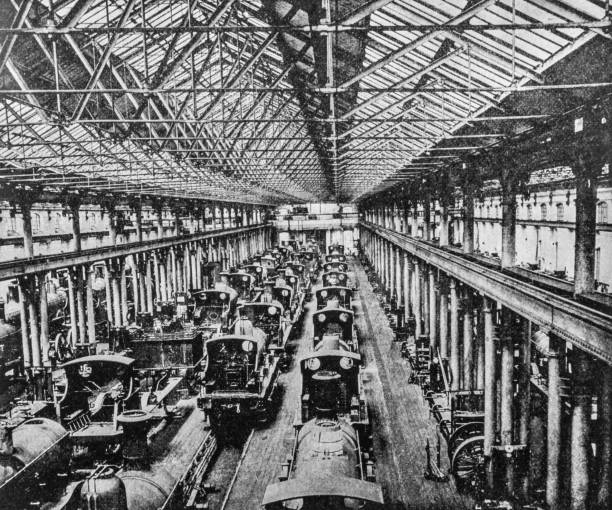 Steam engine trains in an erecting shop in Derby stock photo