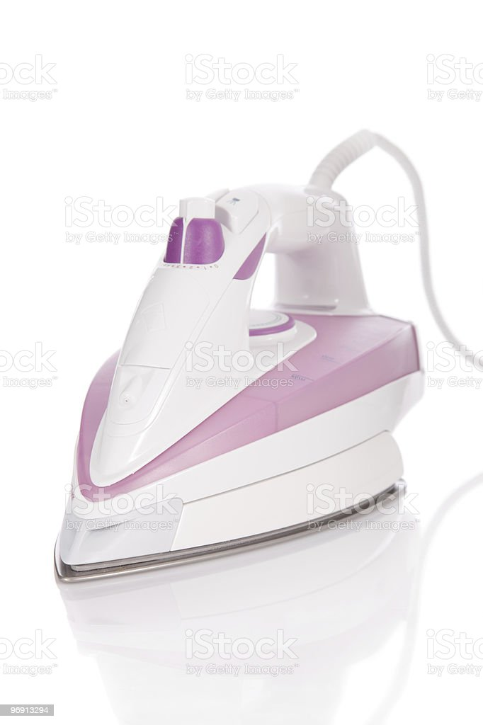steam flat iron isolated on white royalty-free stock photo