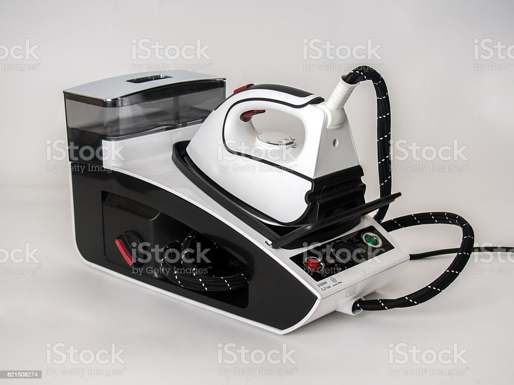 Steam generator for ironing of clean linen foto stock royalty-free