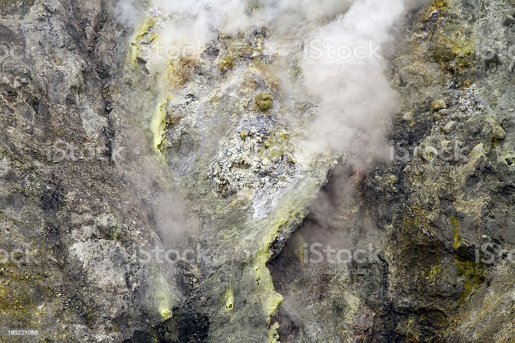 Steam in active volcanic crater stock photo