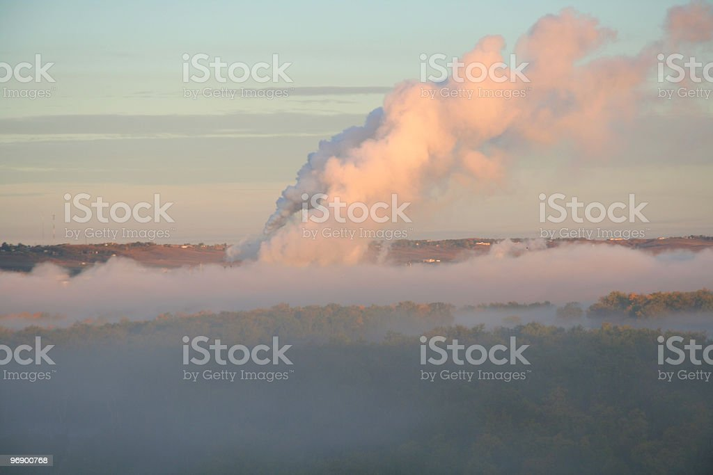 Steam in Morning with Fog stock photo