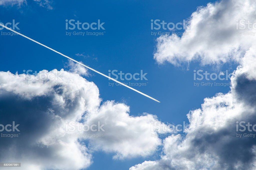 Steam line in the sky stock photo