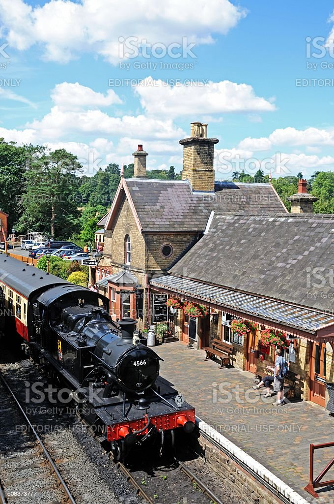 Steam locomotive at Arley railway station. stock photo