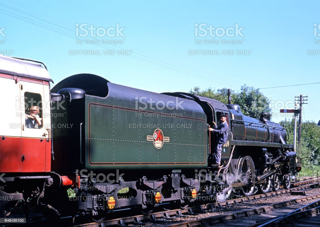 Steam locomotive at Highley, UK. stock photo