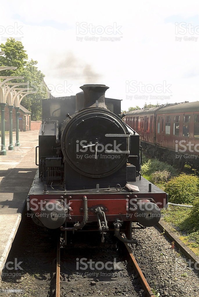 Steam Locomotive at Station royalty-free stock photo
