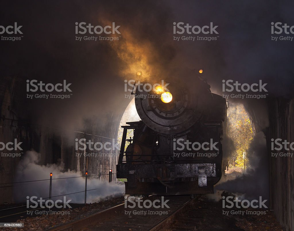 Steam locomotive enters tunnel stock photo