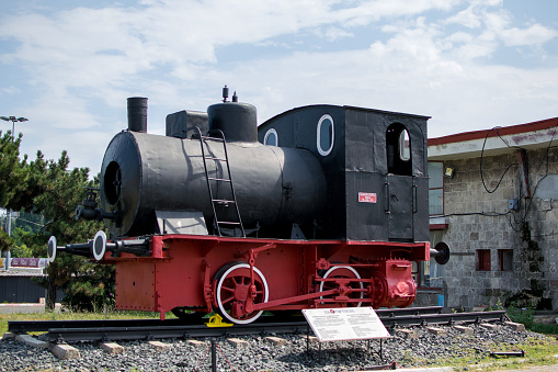 Old steam locomotive. The locomotive built in 1911 by the German company \