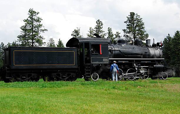 para lokomotywa w fort steele, bc, kanada - konduktor pociągu zdjęcia i obrazy z banku zdjęć