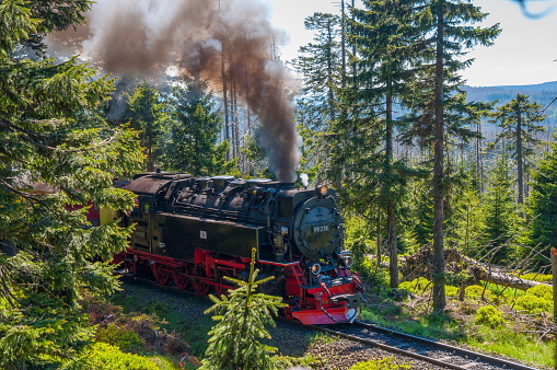 Steam locomotive powering up the hills of Brocken Mountain