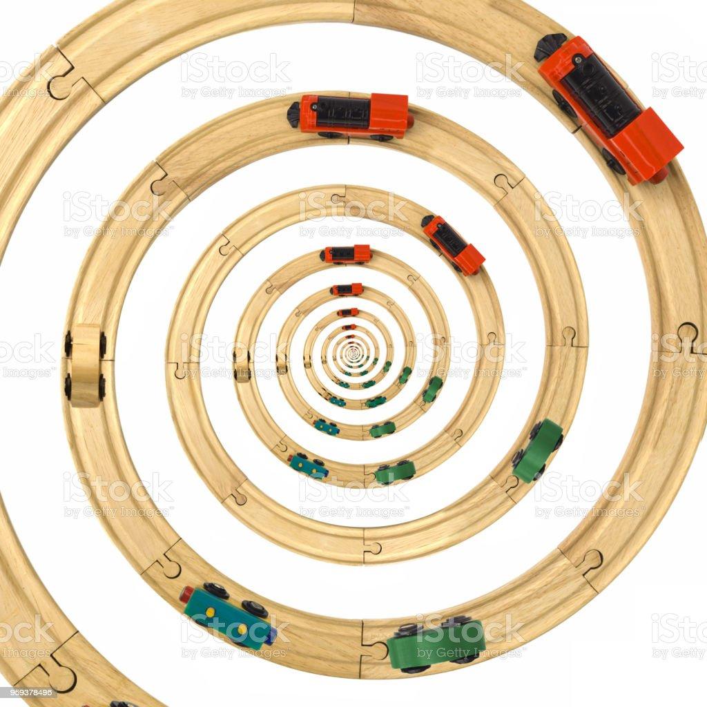 Steam Locomotive Toy Spiral Rails Cutout stock photo