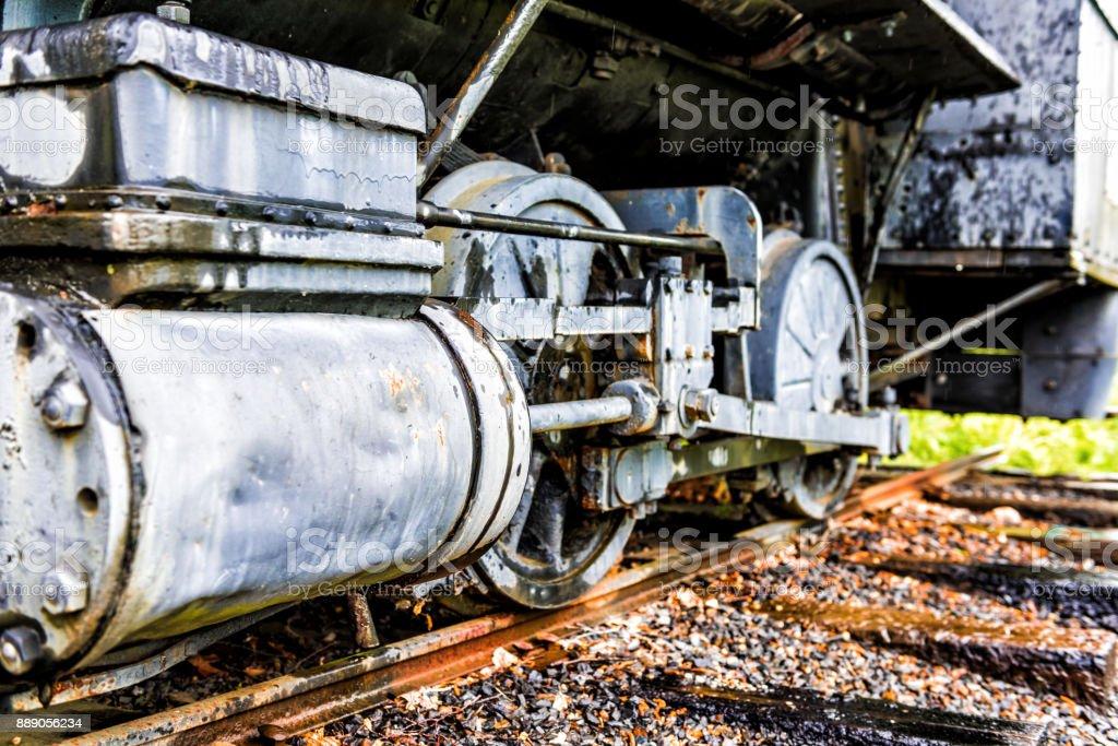 Buhar Lokomotif Tren Araba Antika Vintage Grunge Tekerlek Portre