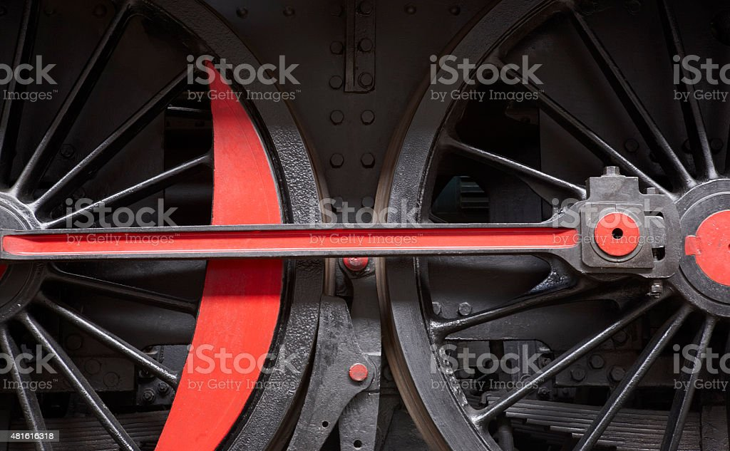 Steam Locomotive Wheel And Connecting Rod Detail Stock Photo