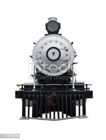 Isolated steam train with a clipping path.