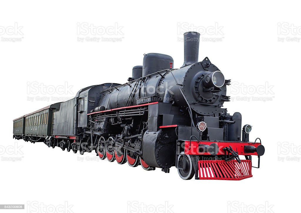 Steam locomotive with wagons stock photo