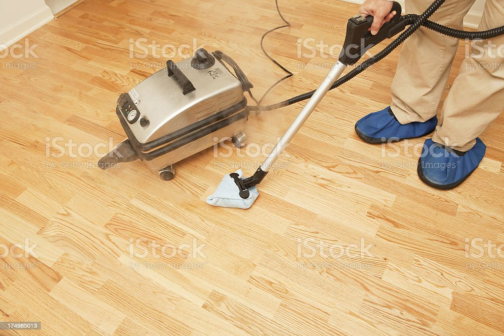Steam Mopping Hardwood Floor stock photo