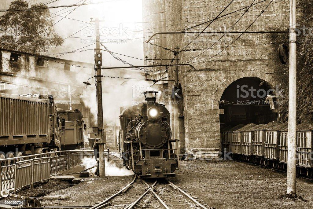 Steam narrow-gauge locomotive. stock photo