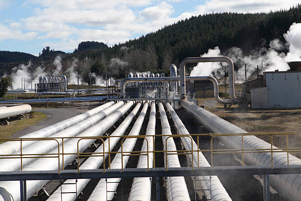 Steam pipes at a Geothermal power station