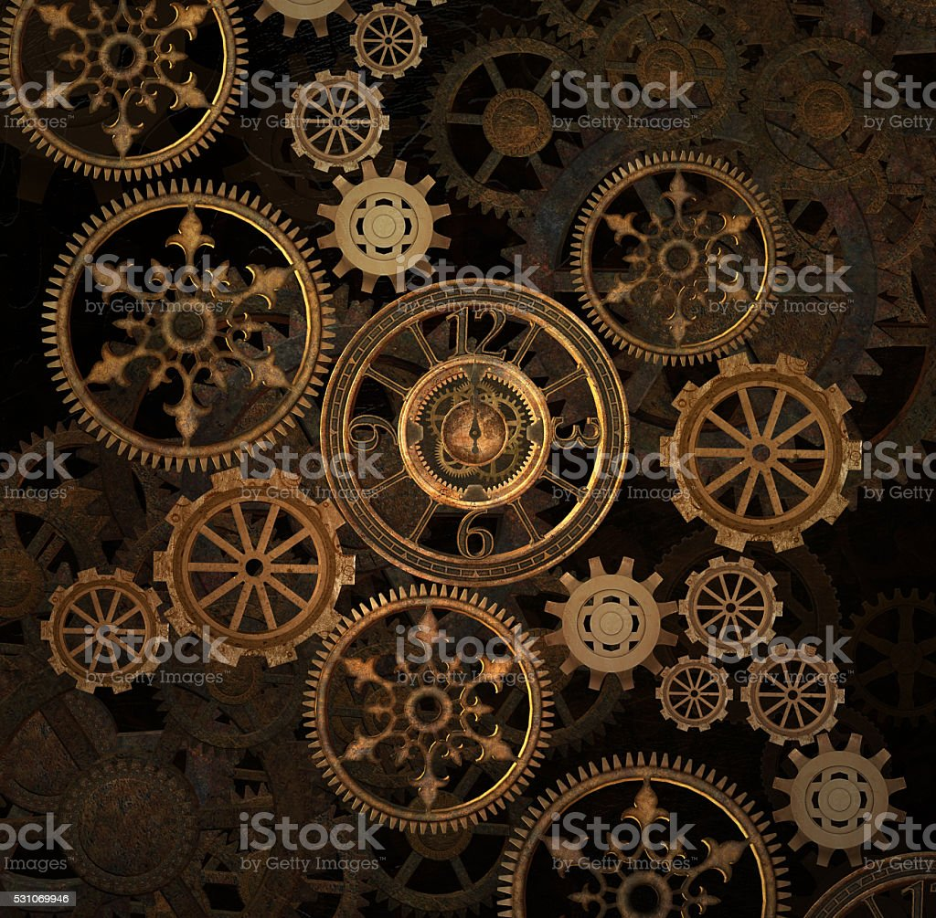Steam punk gears background stock photo