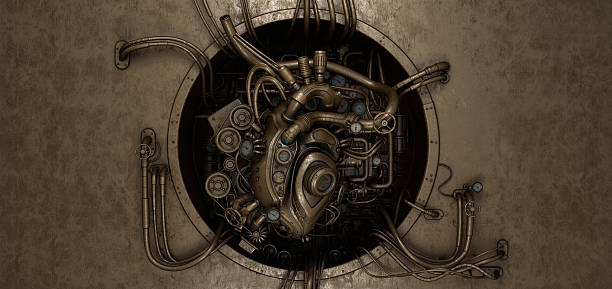 Steam punk heart module stock photo