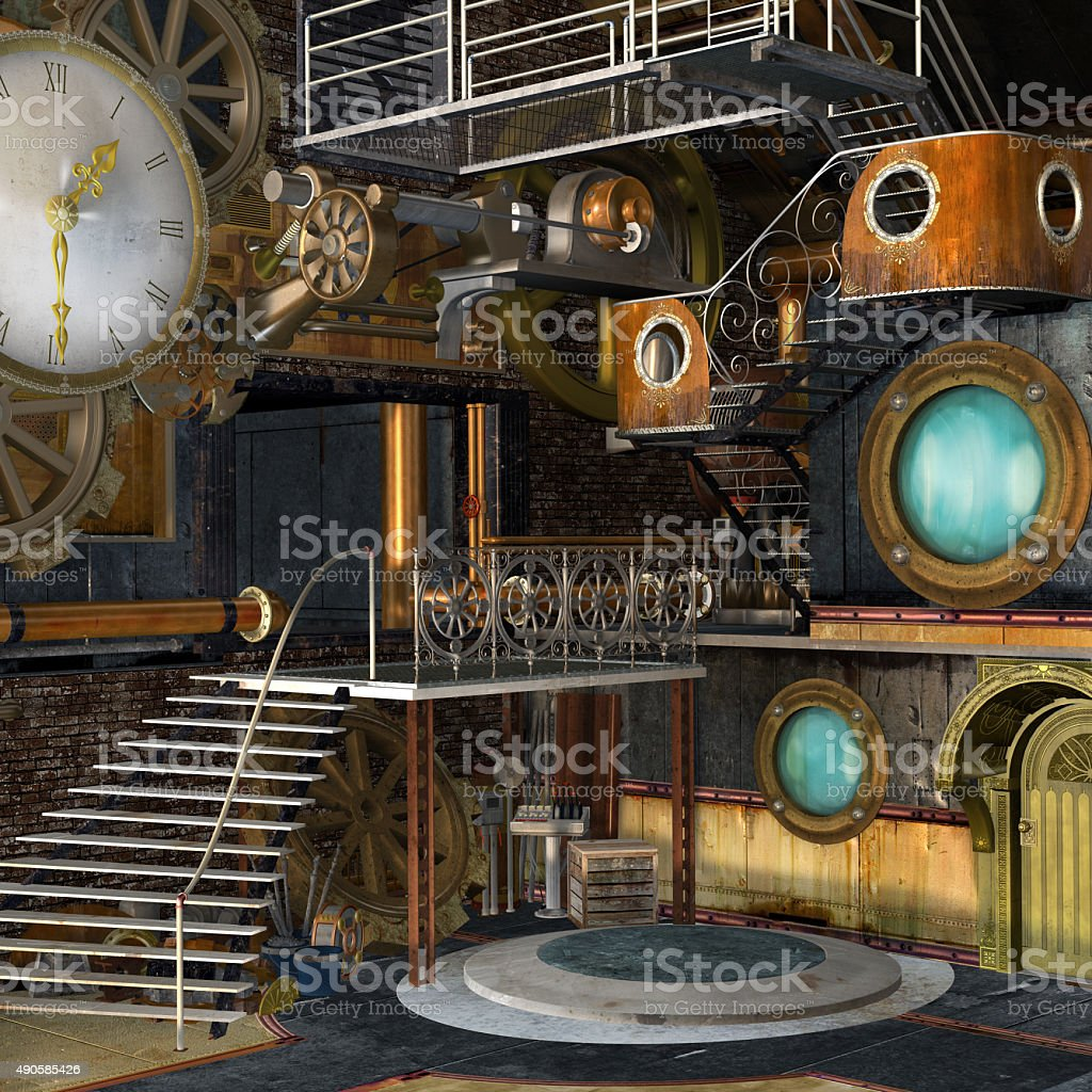 Steam punk industrial interior stock photo