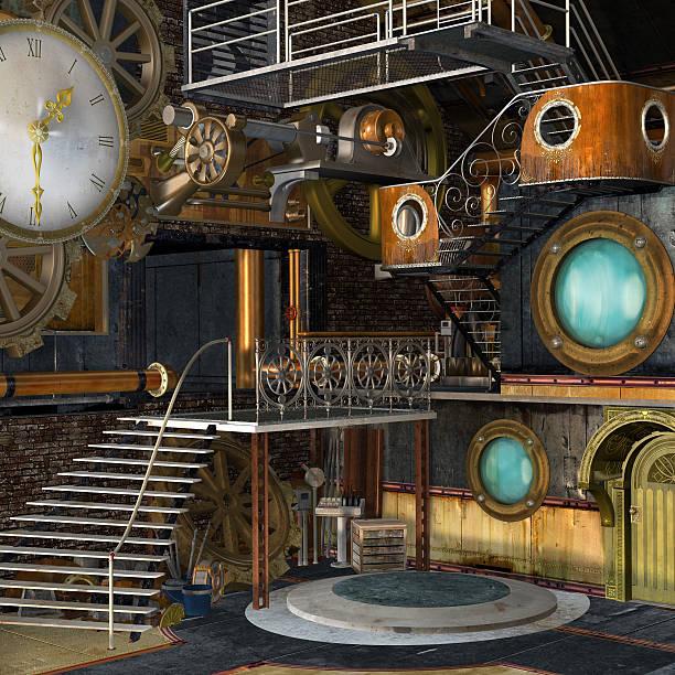 steam punk industrial interior - steampunk stock photos and pictures