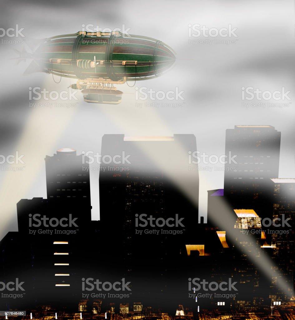 Steam punk zeppelin breaking through fog stock photo