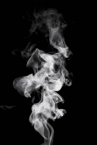 steam rising in front of a black background - curled up stock pictures, royalty-free photos & images