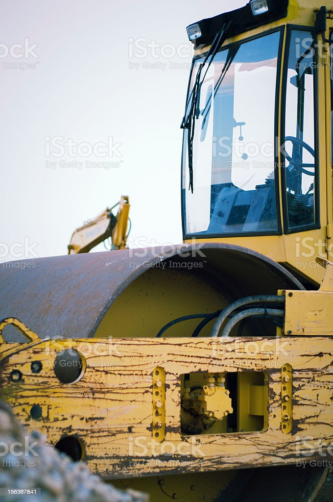 Steam roller at construction site.