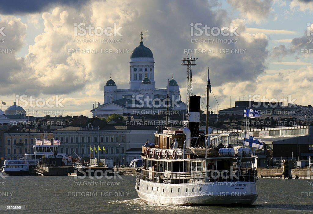 Steam ship m/s J.L. Runeberg arrives to Helsinki stock photo