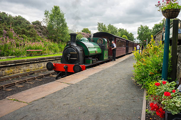 Steam train at Andrew Station - Tanfield stock photo