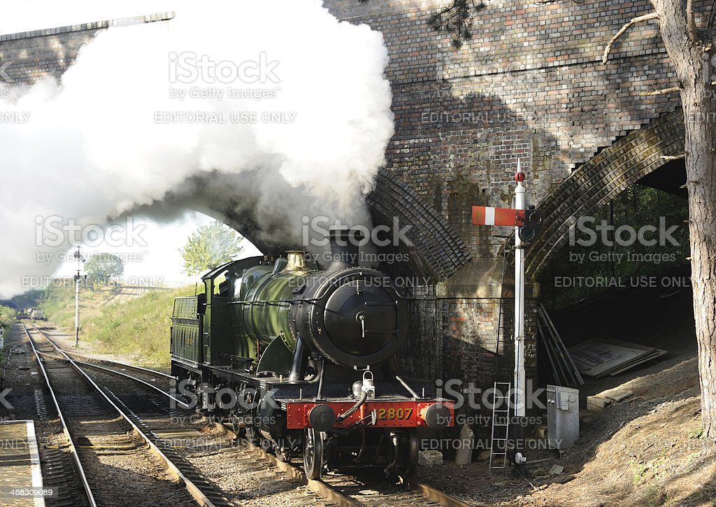 Steam Train at Cheltenham Racecourse royalty-free stock photo