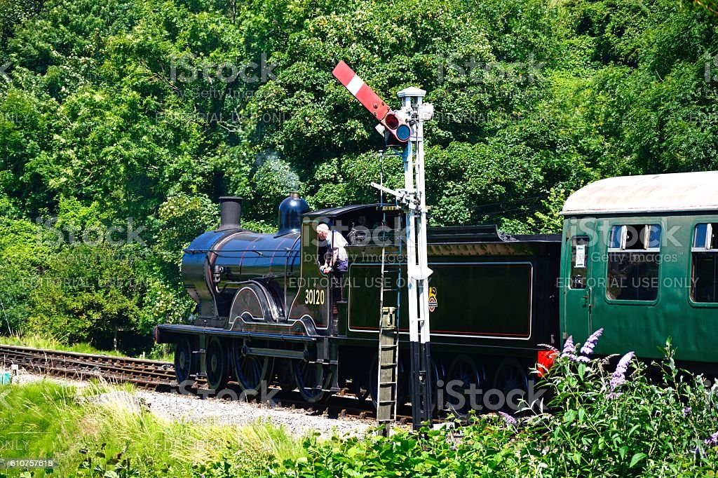 Steam train at Corfe. stock photo