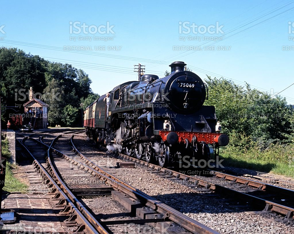Steam train at Highley. stock photo