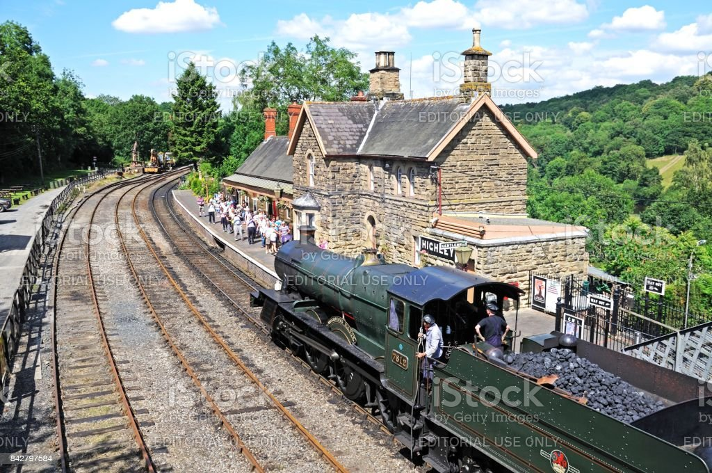 Steam train at Highley railway station. stock photo