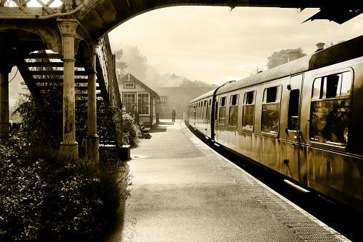 Steam train at Sherringham Station, Norfolk, England, UK,