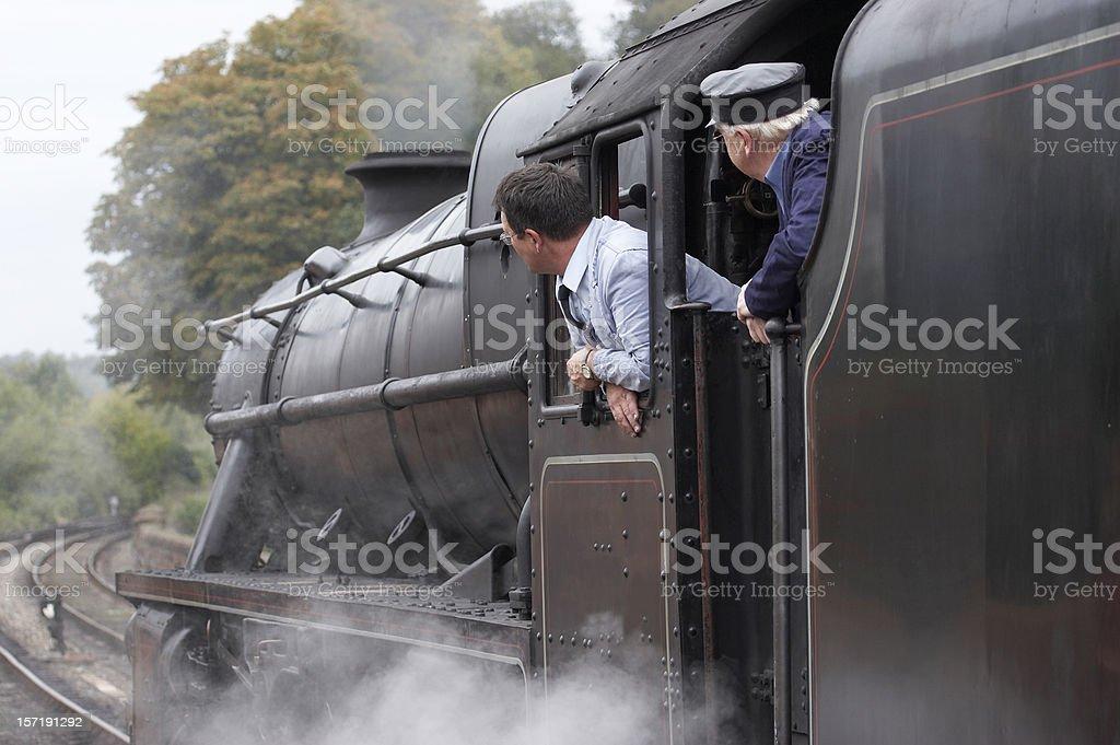 Steam Train drivers stock photo