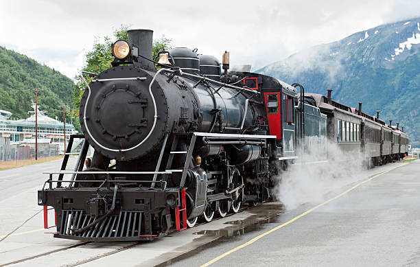 steam train driving down tracks in skagway, alaska  - 火車頭 個照片及圖片檔