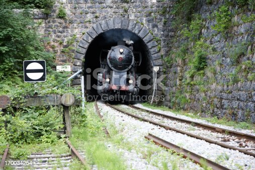 Steam train emerging from tunnel