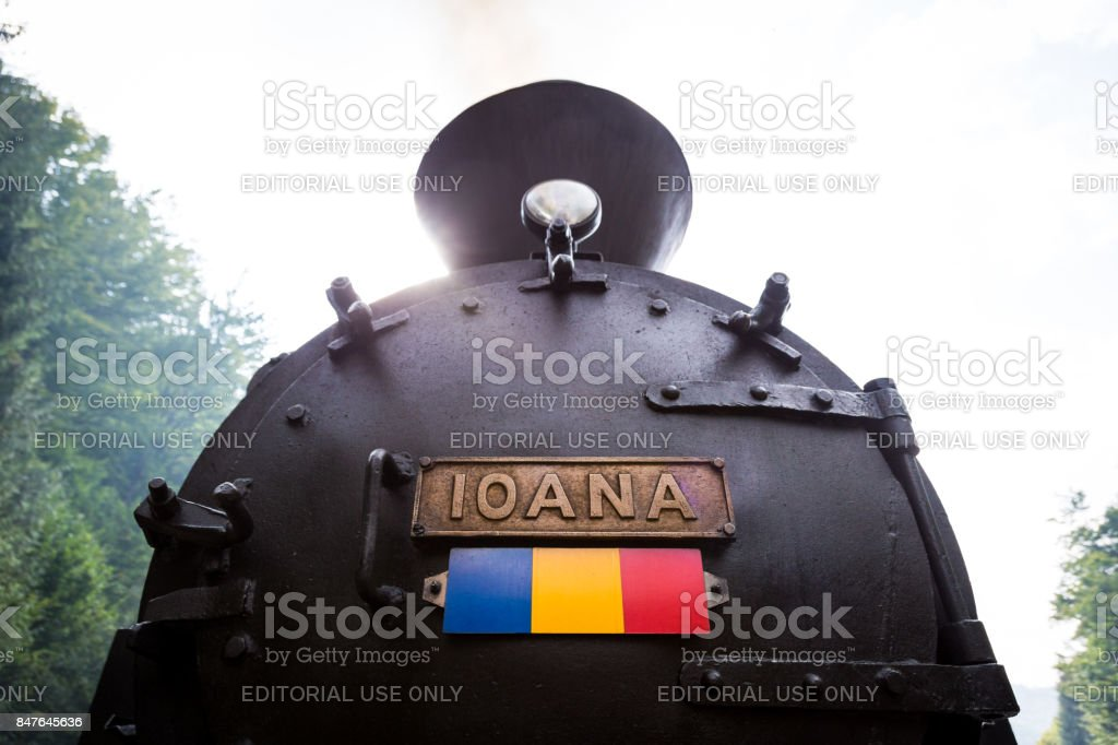 Steam train engine in Viseu de Sus, Maramures, Romania stock photo