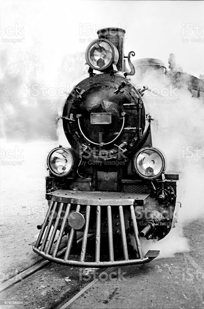 Steam train front view stock photo