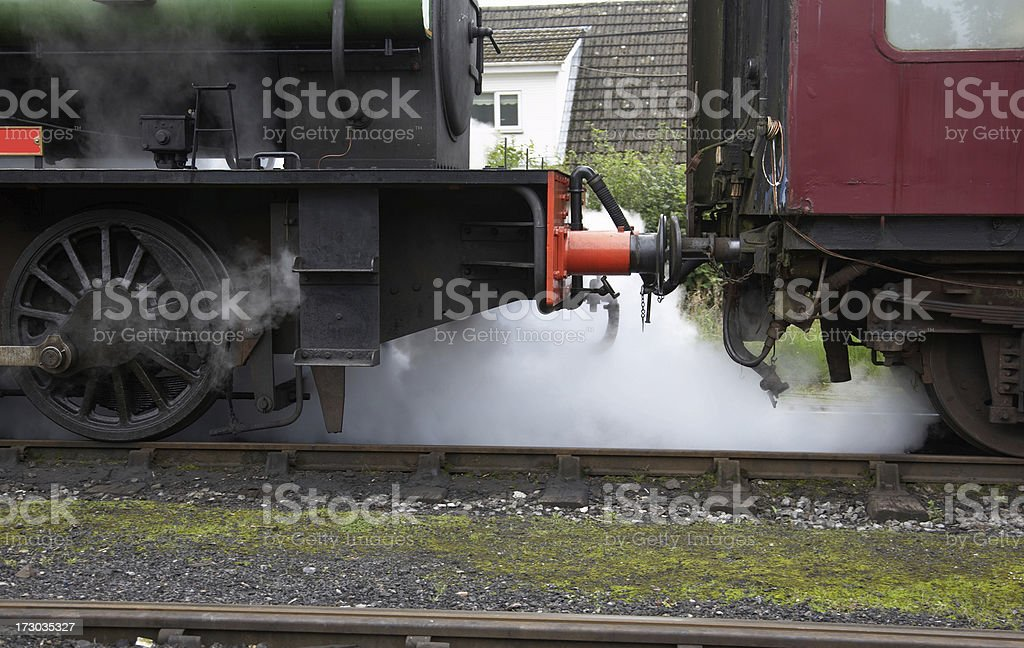 Steam train hissing white cloud royalty-free stock photo
