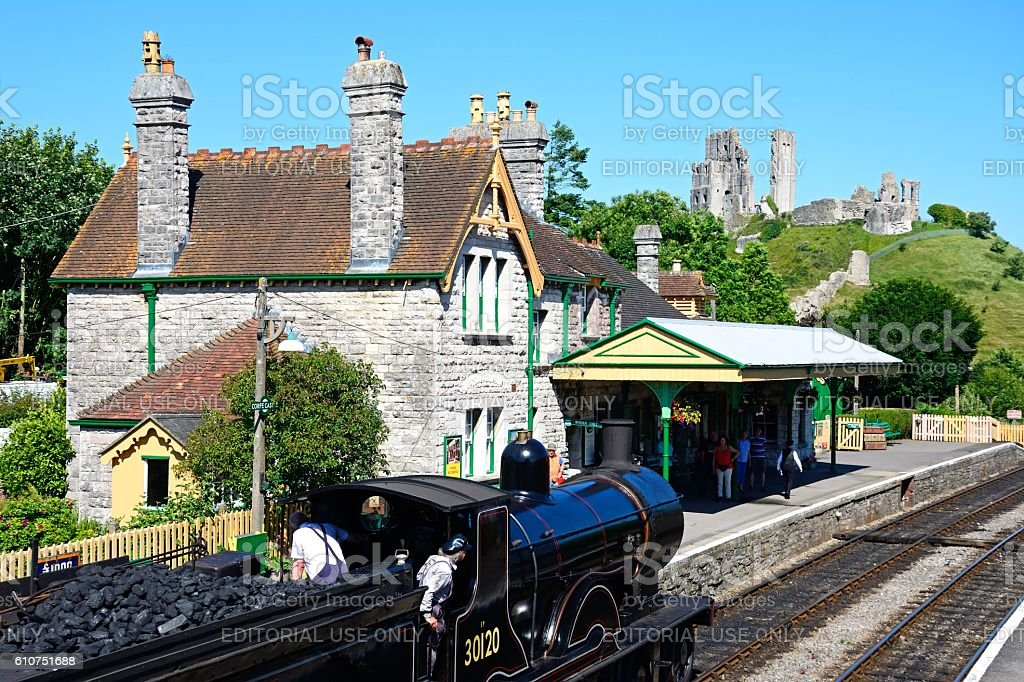 Steam train in Corfe railway station. stock photo