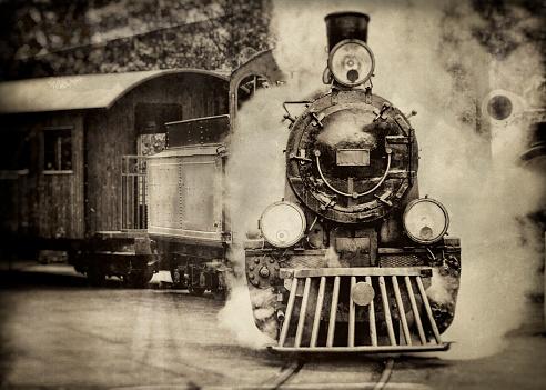 Steam train in sepia