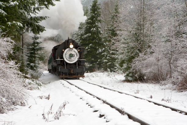 Steam train in snow stock photo