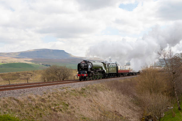 Steam train in Yorkshire countryside stock photo