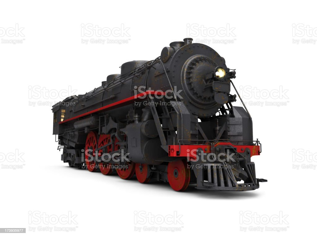 A steam train on a white background royalty-free stock photo