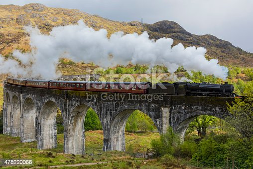 Steam train on Glenfinnan viaduct. Scotland. United Kingdom. Made famous from Harry Potter