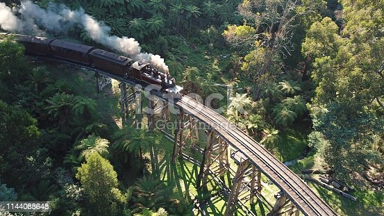 Steam train on raised wooden railway track