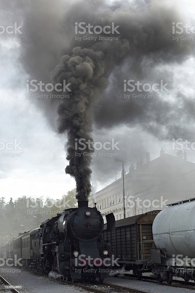 Steam train on the track royalty-free stock photo